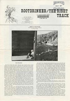 Rootdrinker:  The Right Track; Volume 1, Number 3, March 1976