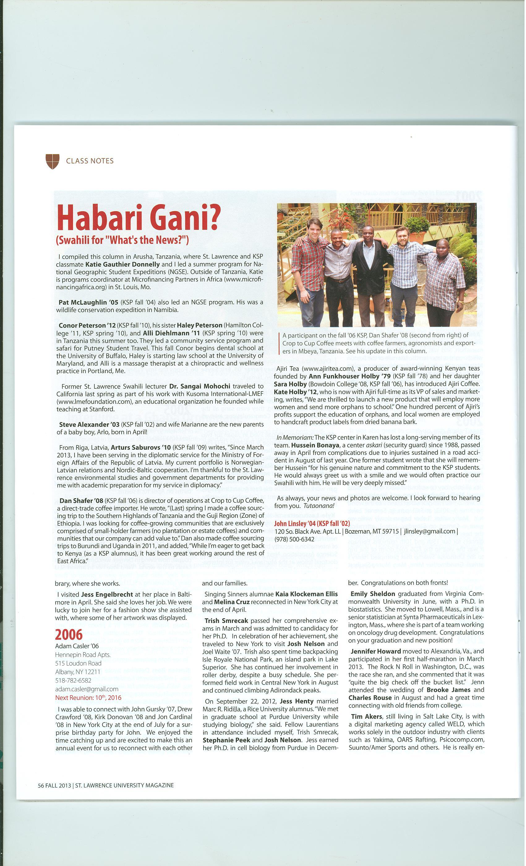 Habari Gani Fall 2013 | Engaging Africa